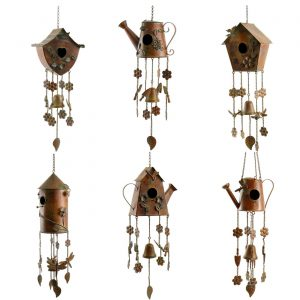 Copper Finish Hanging Birdhouse Wind Chimes in 6 Assorted Styles