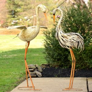 Set of 2 Large Rustic Dancing Herons