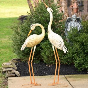 Set of 2 Large Rustic Herons