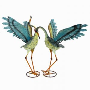 Set of 2 Small Iron Dancing Cranes