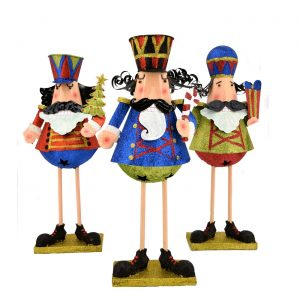 Set of 3 Standing Glitter Christmas Nutcrackers