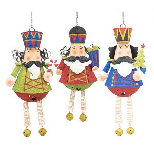 Set of 3 Hanging Glitter Nutcracker Figurines