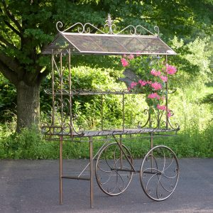 "Large ""Stephania"" Two Tier Antique Bronze Flower Cart"