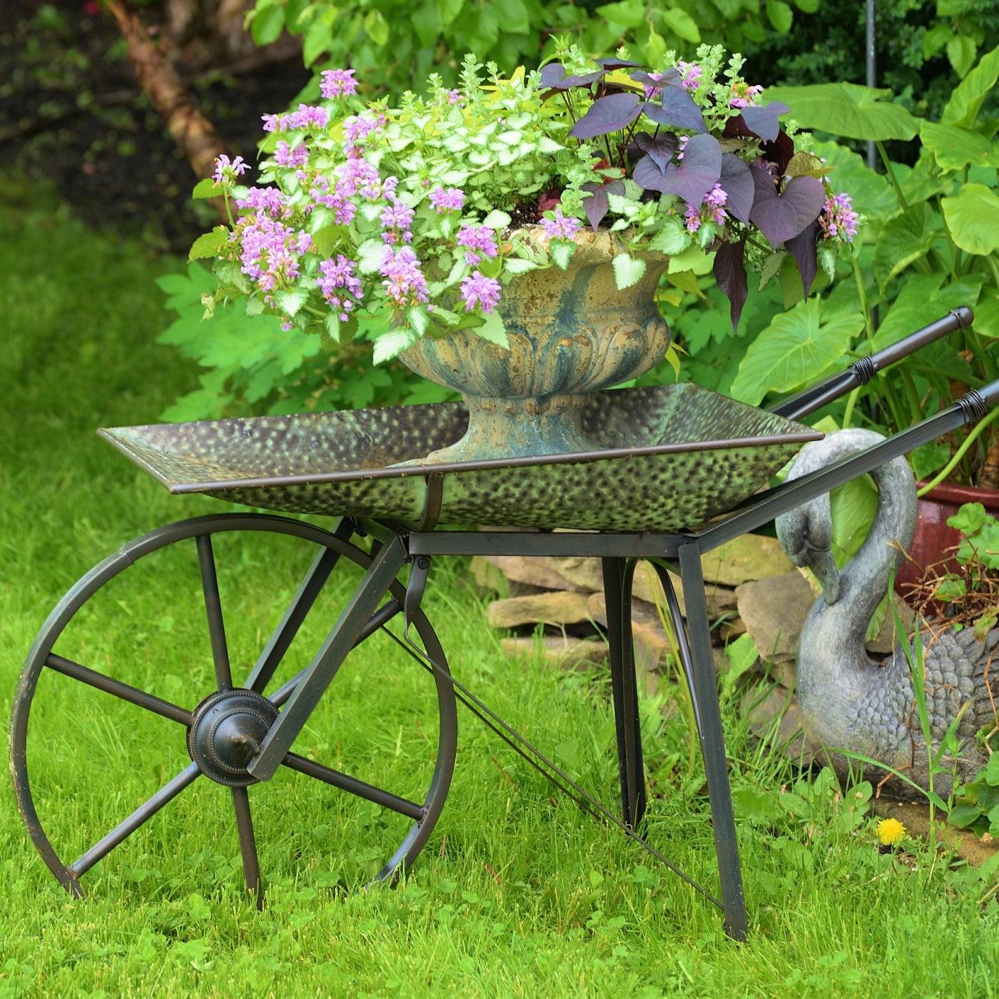 Old Style Galvanized Farmhouse Wheelbarrow with Moving Wheels