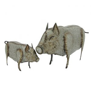 "Set of 2 Galvanized Pigs Decoration ""The Svynyas"""