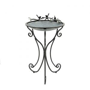 """Three Birds"" Galvanized Round Birdbath"
