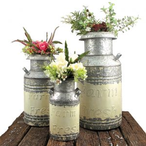 Set of 3 Galvanized Old Style Milk Can Planters