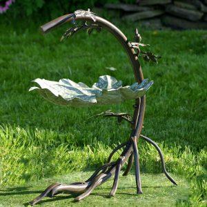 Galvanized Maple Leaf Birdbath with Birds