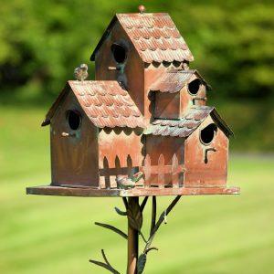 """Country Style Iron Birdhouse Stake """"Doylestown"""""""