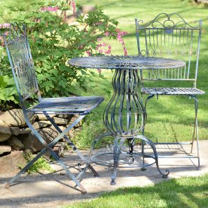 Metal Bistro Set with Two Folding Chairs & One Round Table