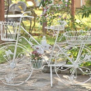 Large Iron Bicycle Plant Stand with Butterflies