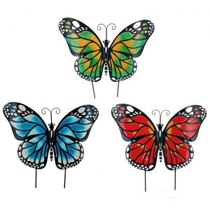 Set of 3 Large Iron Butterfly Garden Flat Stakes in 3 Assorted Colors