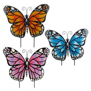Set of 3 Small Iron Butterfly Garden Flat Stakes in 3 Assorted Colors