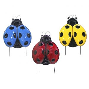 Set of 3 Large Iron Ladybug Flat Garden Stakes in 3 Assorted Colors