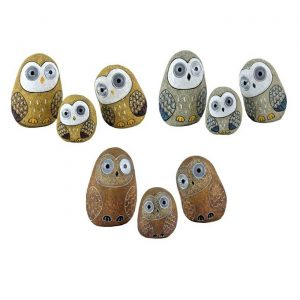"Set of 3 Solar ""Rock"" Owls with Light Up Eyes"