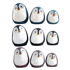 "Set of 3 Solar ""Rock"" Penguins with Light Up Eyes"