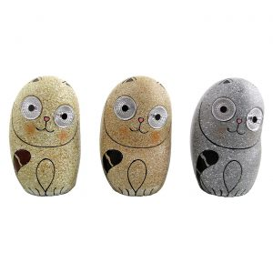"Set of 3 Solar ""Rock"" Kitties with Light Up Eyes"