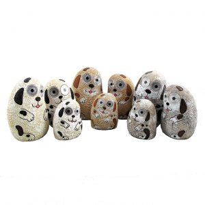 "Set of 3 Solar ""Rock"" Dogs with Light Up Eyes"