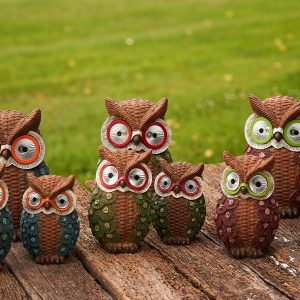 Set of 3 Solar Owls with Sweaters