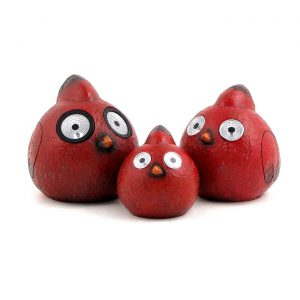 "Set of 3 Red ""Rock"" Cardinals with Solar Eyes"