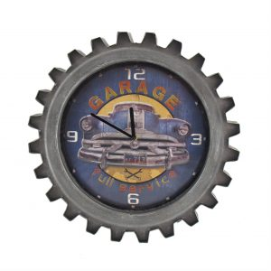 """Blue Garage"" Retro Style Muscle Car Gear Shaped Wall Clock with LED Lights"