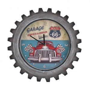 """Route 66"" Retro Style Muscle Car Gear Shaped Wall Clock with LED Lights"