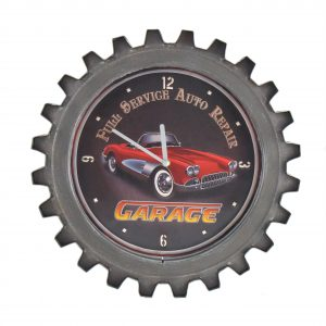 """Red Garage"" Retro Style Muscle Car Gear Shaped Wall Clock with LED Lights"