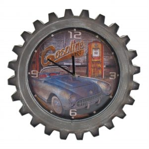 """Blue Gasoline"" Retro Style Muscle Car Gear Shaped Wall Clock with LED Lights"