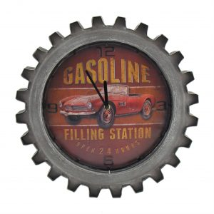 """Red Gasoline"" Retro Style Muscle Car Gear Shaped Wall Clock with LED Lights"