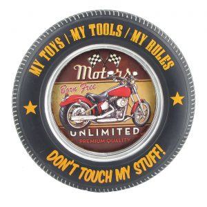 Don't Touch My Stuff with Red Motorcycle - Tire Shaped Iron Wall Décor with LED Lights