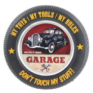 Don't Touch My Stuff with Black 1940's Classic Car  - Tire Shaped Iron Wall Décor with LED Lights