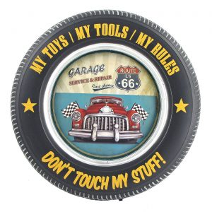 """Don't Touch My Stuff"" with Red Muscle Car and Checkered Flags - Tire Shaped Iron Wall Décor with LED Lights"