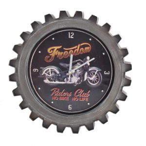 """Black Freedom"" Motorcycle Themed Gear Shaped Wall Clock with LED Lights"