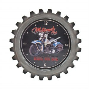"""Ride or Die"" Motorcycle Themed Gear Shaped Wall Clock with LED Lights"