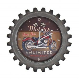 """Motors Unlimited"" Motorcycle Themed Gear Shaped Wall Clock with LED Lights"