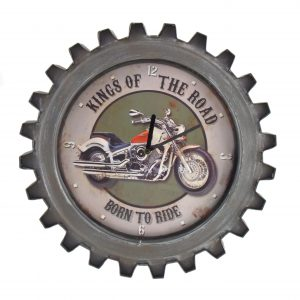 """Kings of the Road"" Motorcycle Themed Gear Shaped Wall Clock with LED Lights"