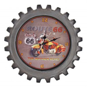 """Route 66"" Motorcycle Themed Gear Shaped Wall Clock with LED Lights"