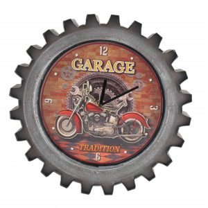 """Red Garage"" Motorcycle Themed Gear Shaped Wall Clock with LED Lights"