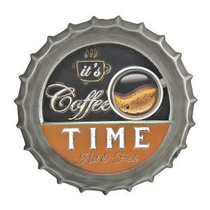 """Coffee Time"" Retro Style LED Lit Iron Bottle Cap Wall Decor"