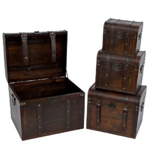 Set of 4 Old Style Wooden Trunk Décor