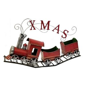 "Metal Christmas Train with 2 Carts on Track ""X-M-A-S"""