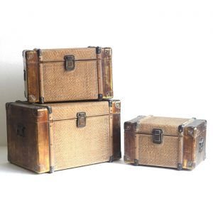 Set of 3 Bamboo Finished Trunk Décor