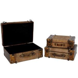 Set of 3 Darkened Bamboo Finished Suitcase Decor