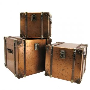 Set of 3 Copper Finished Antique Trunk Decor