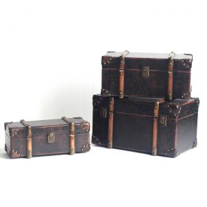 Set of 3 Old Style Antique Leather Trunk Décor
