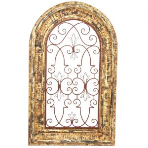 Arched Window Wooden Wall Frame with Iron Decor in Barcelona Red Rustic Finish
