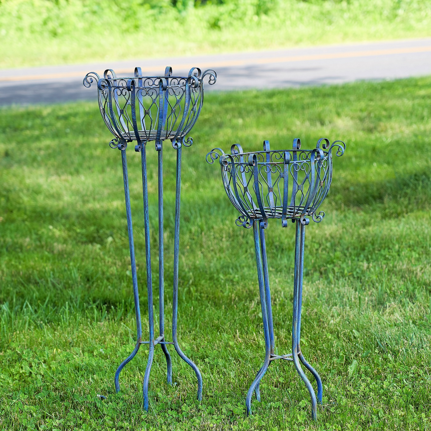 Set of 2 Tall Iron Basket Plant Stands