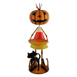 Candy Corn Jack-O-Lantern Man with Tray and Cat