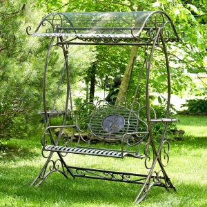 Electroplated Garden Swing Bench with Copper Brown Finish