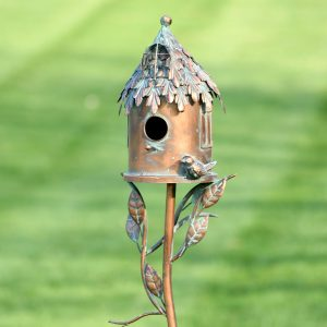 "Country Style Iron Birdhouse Stake ""Round House"""